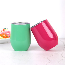 YIBO 12 Oz  Belly Cup Double Stainless Steel Vacuum Flask Eggshell Red Wine Coffee Thermos Men Women Children Gift