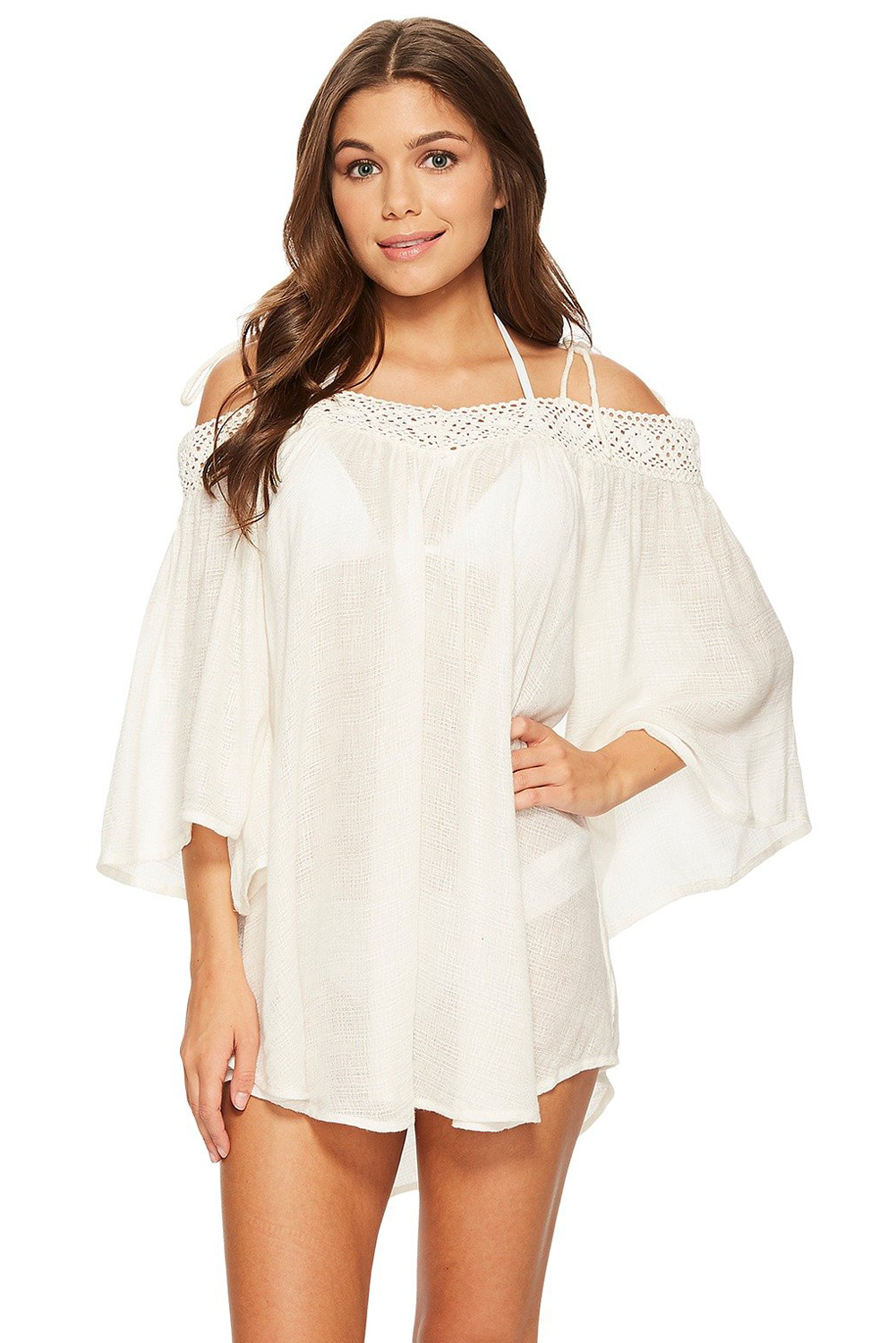Stylish Breeze Crochet Off-the-shoulder Beachwear Women Lacing Strappy Swimwear Beach Dress Cover-Ups Wear BathingSuit Playsuits
