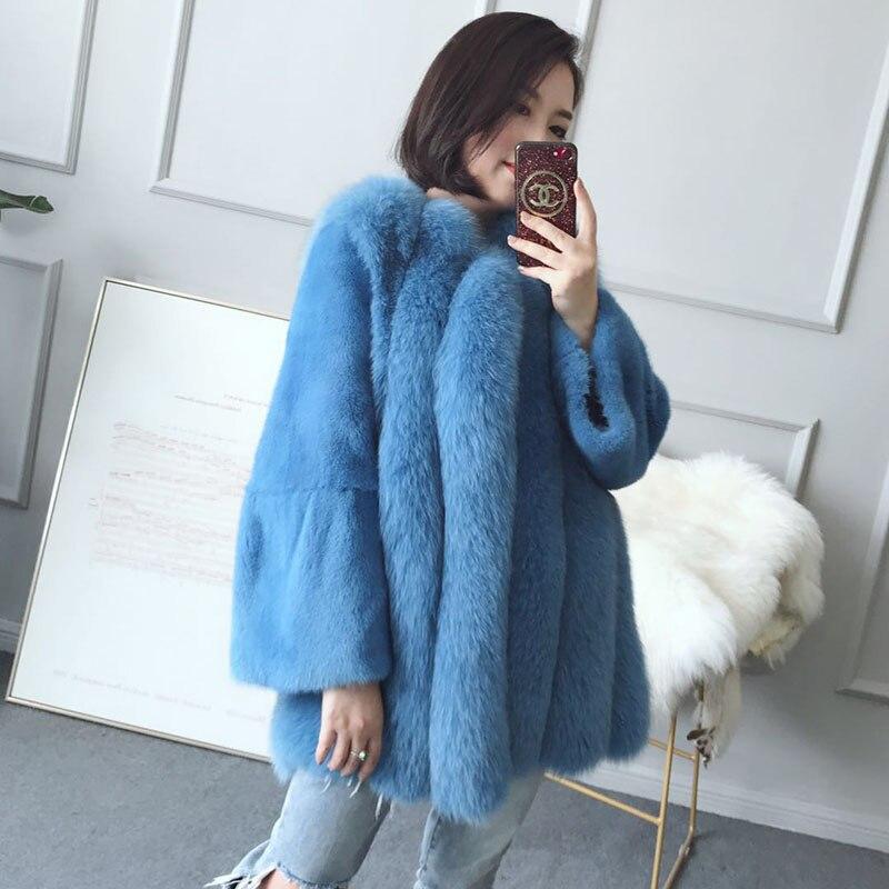 Real Fur Coat Women Clothes 2018 Autumn Winter Warm Fox Fur Coats Korean Vintage Elegant Overcoat Manteau Femme Hiver ZL499