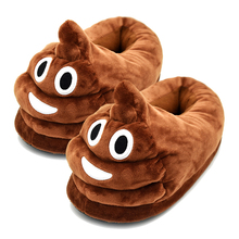 Best Fun Cute Cartoon Emoji Poop shaped plush emoji Slippers mens Funny Household girl kids stuff Childrens Day Gifts present