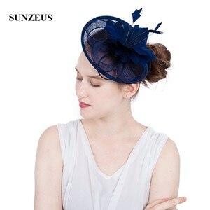 Image 1 - פרחי פשתן כובע חתונה לבן עבור נוצות הכלה המפלגה של נשים אלגנטיות הכחול כהה כובעי tocados סומבררו bodas SH64