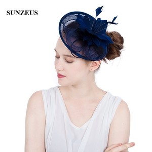 Image 1 - White Wedding Hat for Bridal Feathers Linen Flowers Elegant Womens Party Hats Navy Blue tocados sombreros bodas  SH64