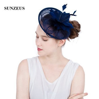 White Wedding Hat for Bridal Feathers Linen Flowers Elegant Women's Party Hats Navy Blue tocados sombreros bodas  SH64