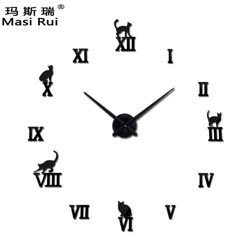 promotion 2017 hot big mirror wall clock Modern design diy large size wall clocks 3d diy wall watch stickers free shipping