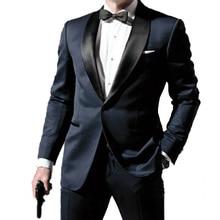 ミッドナイトブルーの結婚式のスーツ、別注二重襟タキシード男性のための Skyfall Skyfall タキシード男性スーツカスタムメイド、