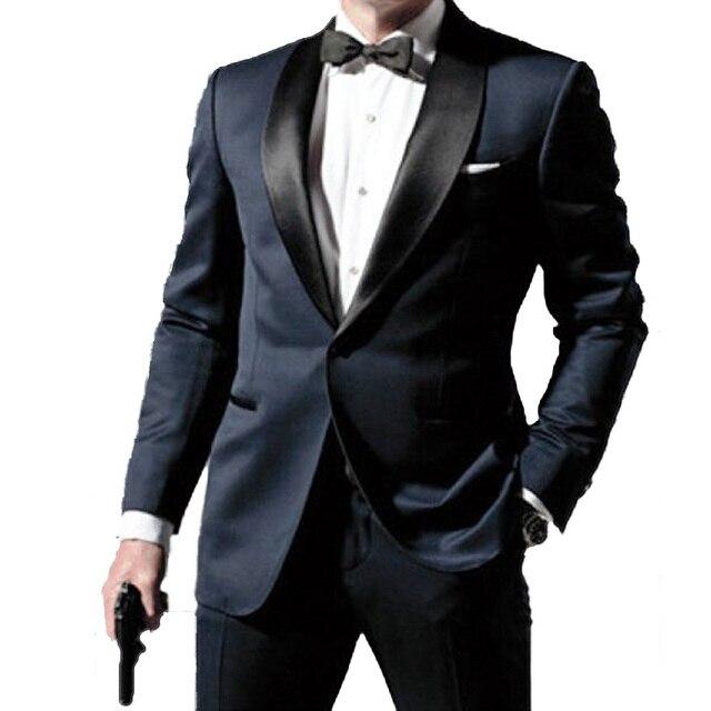 Skyfall Marineblauw Tuxedo Mannen Suit Custom Made, Skyfall Midnight Blue Wedding Suits Voor Mannen, bespoke Dubbele Kraag Smoking Voor Mannen