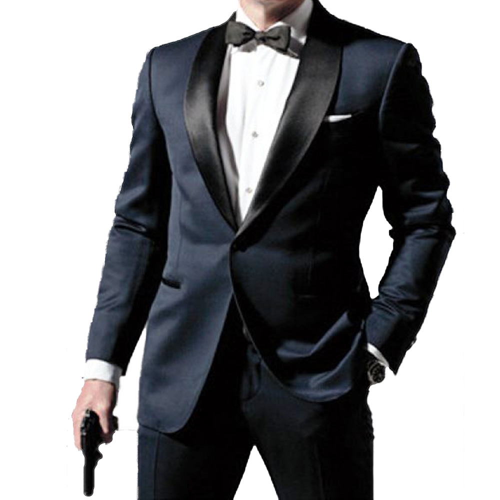 Skyfall Navy Blue Tuxedo Men Suit Custom Made,Skyfall Midnight Blue Wedding Suits For Men,Bespoke Double Collar Tuxedos For Men