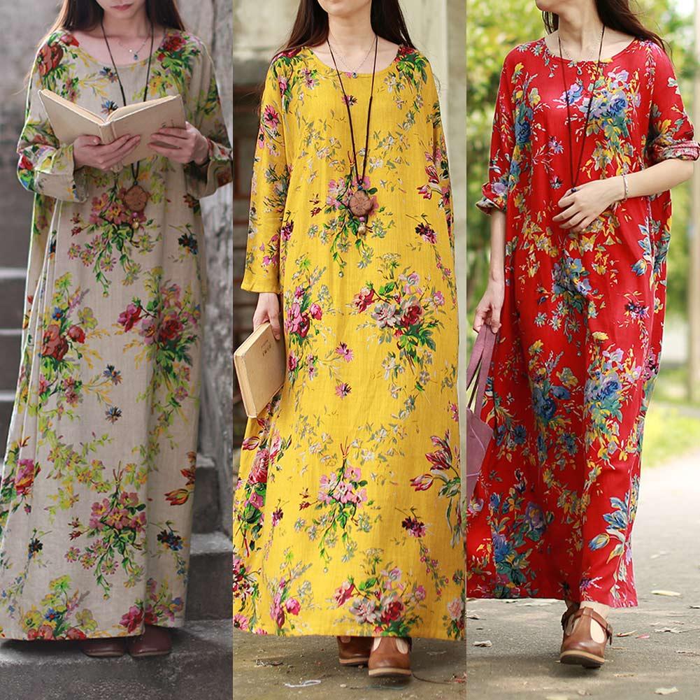 EaseHut 19 New Vintage Women Maxi Floral Dress Plus Size Long Sleeves Pockets O Neck Cotton Linen Loose Robe Dresses vestidos 4