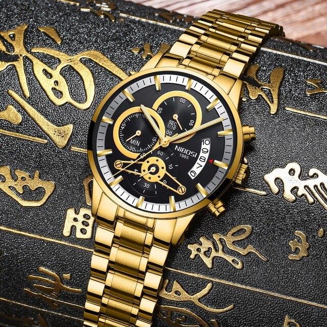 4989e07b591 NIBOSI Analgue Homem De Quartzo Relógio de Aço Inoxidável Relógio De Ouro  Dos Homens Do Cronógrafo
