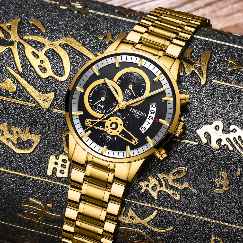 NIBOSI Gold Watch Men Chronograph Stainless Steel Quartz Man Watch Analgue Wristwatch Waterproof Date Luminous Relogio Masculino