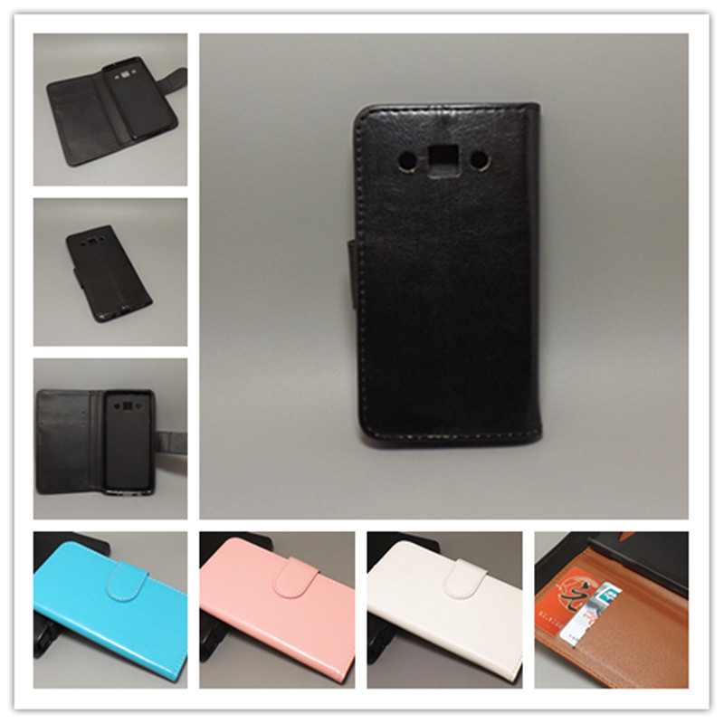 Crazy horse wallet case hold two Cards with 2 Card Holder and pouch slot for samsung Galaxy A3 A300 A3000 A3009 A300F