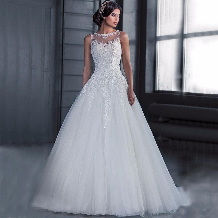 Vestidos de Novia Cheap Ball Gown Wedding Dress 2018 Robe de mariage See Through Back Lace