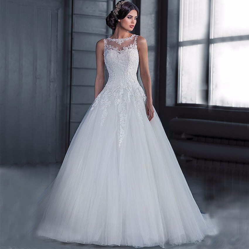 See Through Wedding Gown: Vestidos De Novia Cheap Ball Gown Wedding Dress 2018 Robe