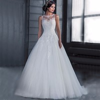Vestidos de Novia Cheap Ball Gown Wedding Dress 2018 Robe de mariage See Through Back Lace Wedding Gowns Vestido de Noiva ZJ14