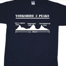 Yorkshire Three Peaks Challenge T-Shirt (3, Ingleborough,Whernside, Dales) Mans Unique Cotton Short Sleeves free shipping