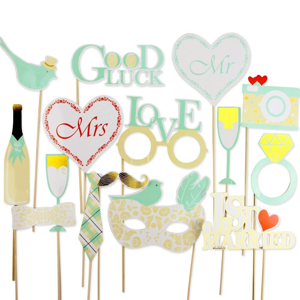 Pack de 16 Verde Menta Booth Photo Booth Props Kit Lyric Photo Props - Para fiestas y celebraciones