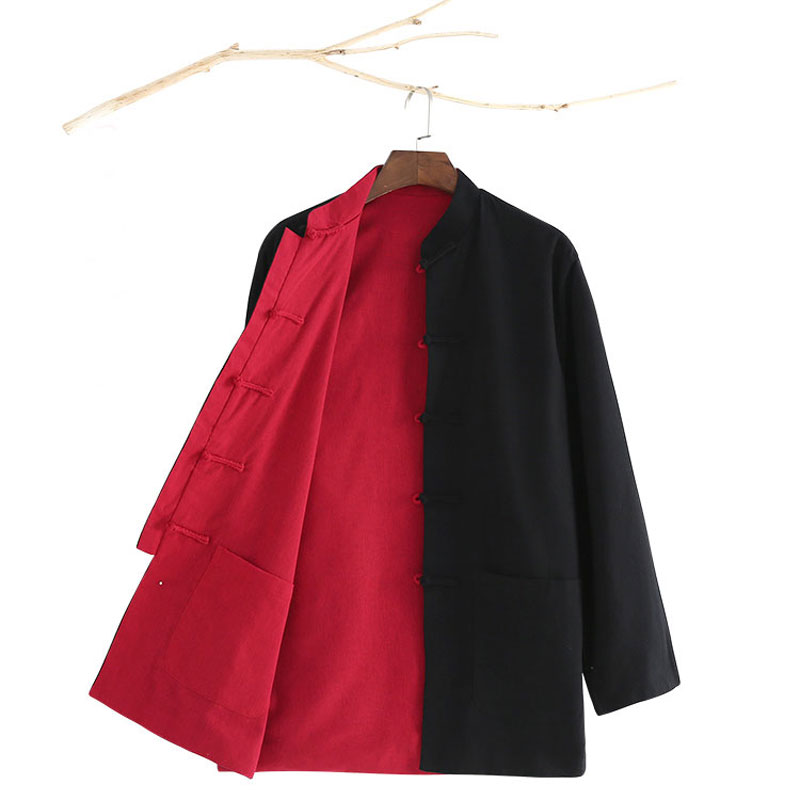 Long Sleeve Two Side Wear Black Red Men Traditional Chinese Tang Suit Top Kung Fu Uniform Outfit Clothes Clothing