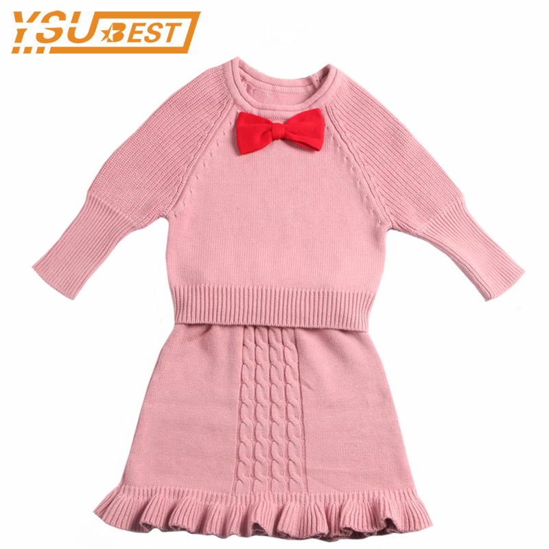 1-6yrs Baby Girls Clothing Sets New 2017 Kids Bowknot Knitted Suits Long Sleeve Sweater+Skirts 2Pcs Brand Children Clothing Sets garyduck girls clothing sets kids knitted suits long sleeve houndstooth tops skirts 2pcs for girls suits