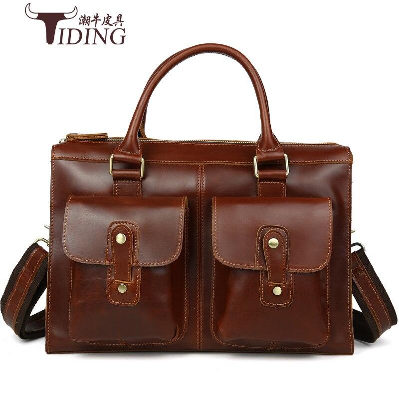 Кожаный мужской портфель сумки для ноутбуков 14 мужской мешок Винтаж натуральной кожи человека Сумочка 2017 черная плеча Crossbody сумки
