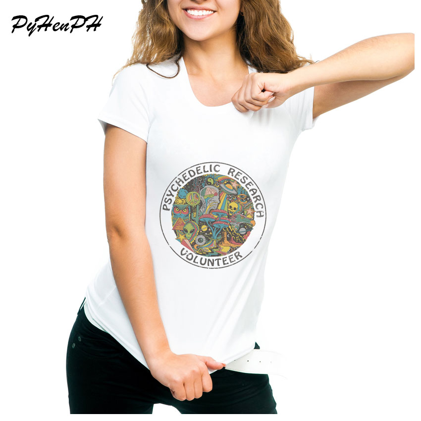 Psychedelic Research Volunteer T Shirt Women Slim Funky colourful Print t shirt Female Vintage Tshirt skull funny top tees