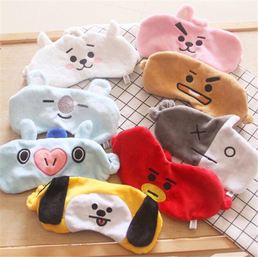Soft Cartoon Eye Mask Toy BT21 BTS Travel Lunch Break Sleep Shading Breathable Natural Sleep Mask Figures Gift  A653