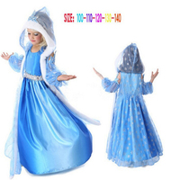 2017 New Girl Fashion Ice Snow Queen Dress Children Anna Elsa Hooded Dress Toddler Princess Party