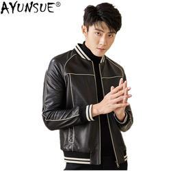 AYUNSUE мужская кожаная куртка осень-зима куртка мужская из натуральной овчины пальто Мужская s Уличная бейсбольная куртка Veste Homme MY1464