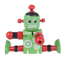1 Pc Wooden Robot Toy Children Baby Learning Educational Toy Figures Kids Early Learning Toy Style Random(China)