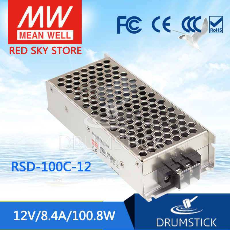 цена на Hot sale MEAN WELL RSD-100C-12 12V 8.4A meanwell RSD-100 12V 100.8W Railway Single Output DC-DC Converter