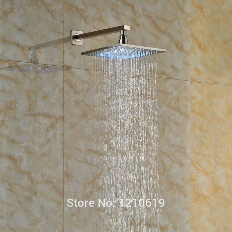Newly LED Color Changing 8 Square Shower Head Nickel Brushed Rain Top Shower Spray Head w/ Shower Arm прогулочные коляски bebetto aro rainbow