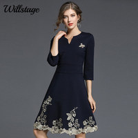 Willstage 2018 Autumn Navy Blue Dress Women Embroidery Elegant Casual Female Party A Line Dresses Fashion Knee Length Vestidos