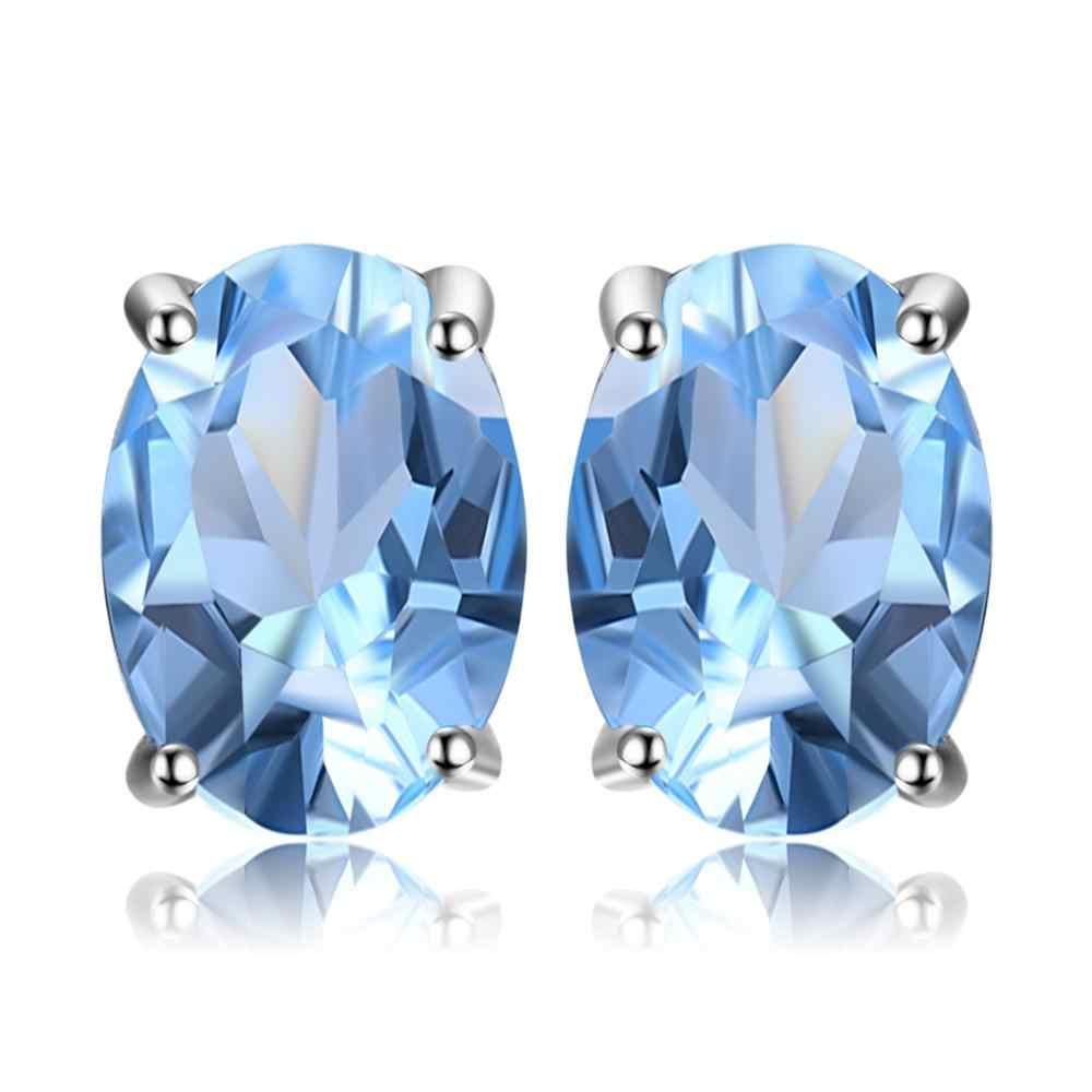 Sky Blue Topaz สร้อยคอจี้ต่างหูแหวนเงิน 925 อัญมณีเครื่องประดับชุดเงิน 925 เครื่องประดับสำหรับผู้หญิง