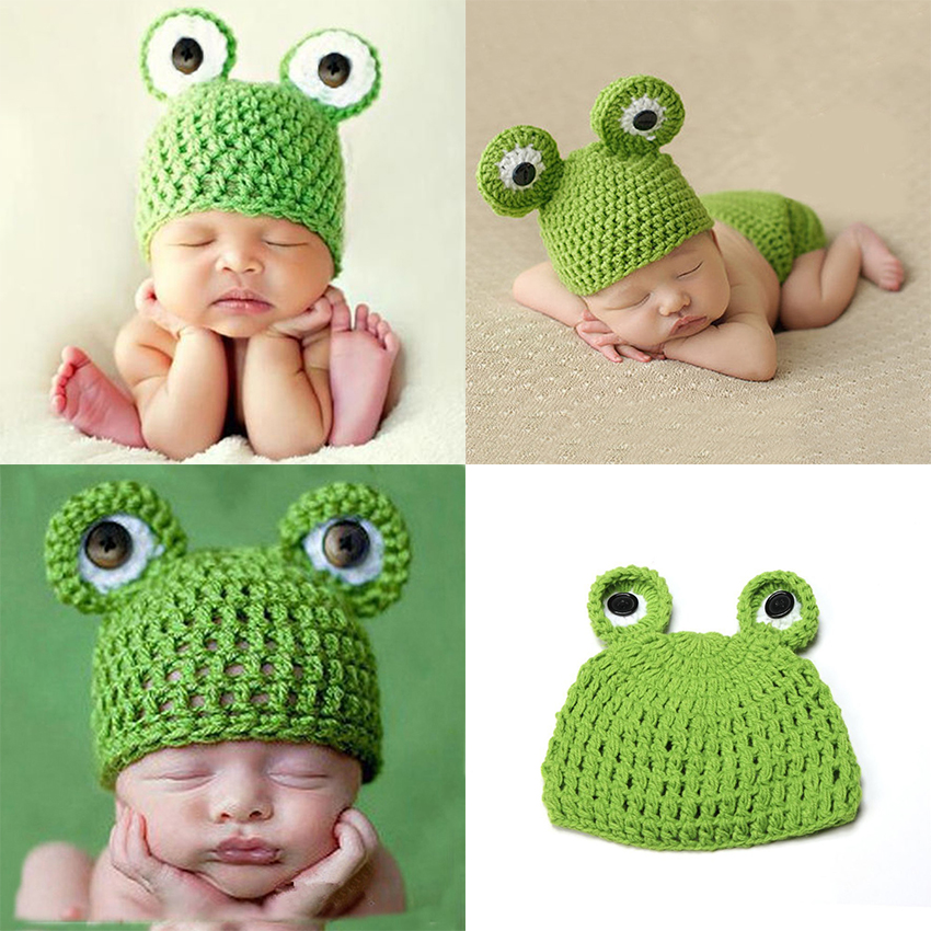 2018 Newborn Baby Knitted Cap Photographic Prop Photo Singlefrog Knit Hat Baby Photo Shooting Accessories Knit Winter Cap Beanie