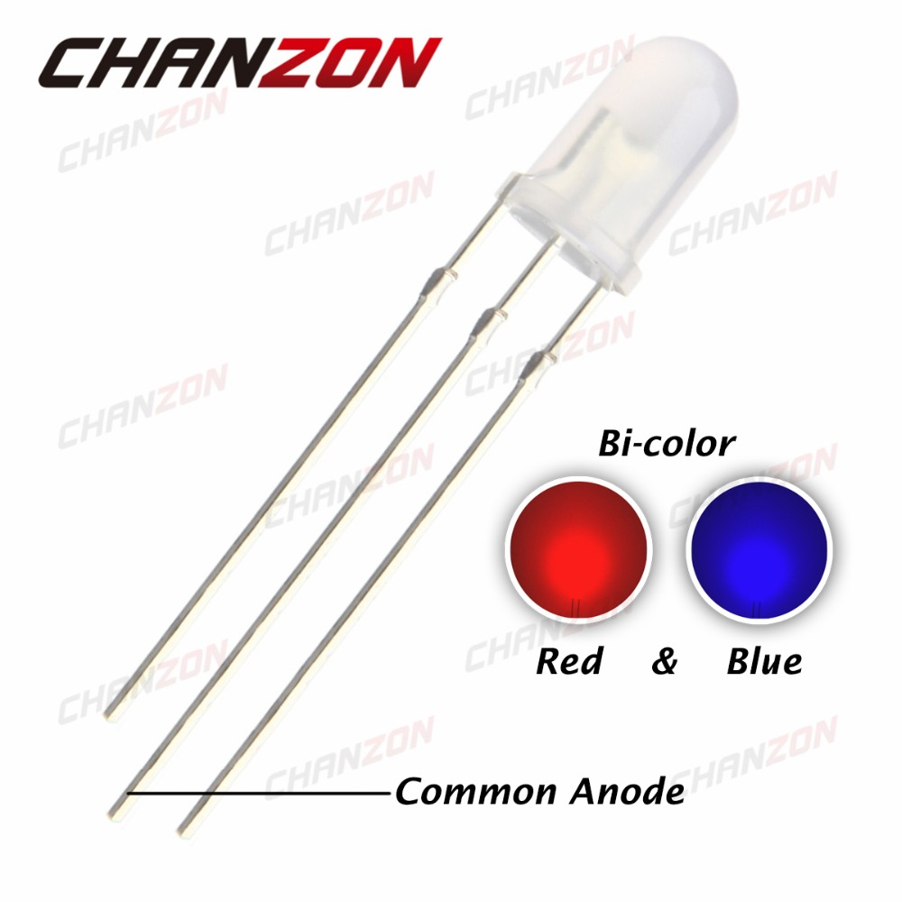 100pcs 5mm Diffused LED Diode Red And Blue Common Anode 5 mm Bicolor Round Top Light-Emitting Diode Lamp Electronics Components