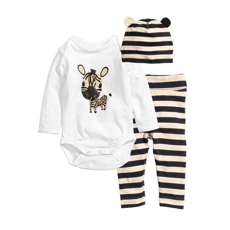 2019 Baby   Rompers   Long Sleeve Cotton Baby Girl Clothes Cartoon Animal Baby Boy   Romper  +Hat+Pant Newborn Clothing Sets 3Colors