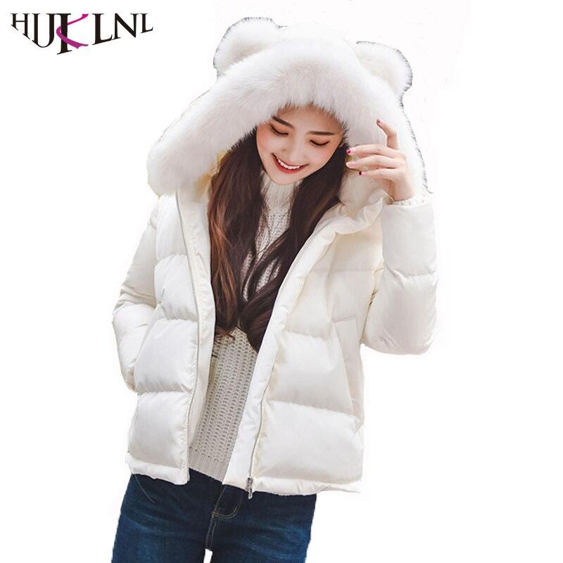 HIJKLNL Kawaii Women Winter Jacket With Ears 2017 New Short Slim Hooded Fur Collar Cotton Parka