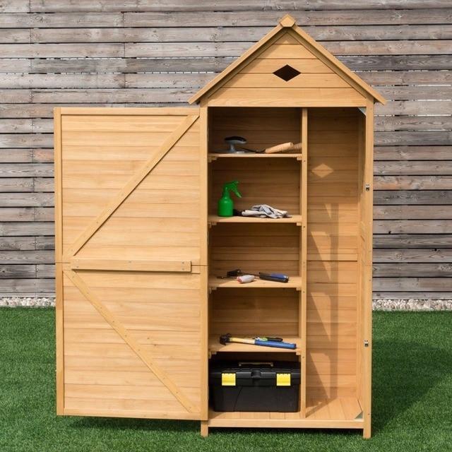 Giantex Single Door Outdoor Storage Cabinet Unit Fir Wooden Garden Yard Shed Durable New Home Furniture Op3376