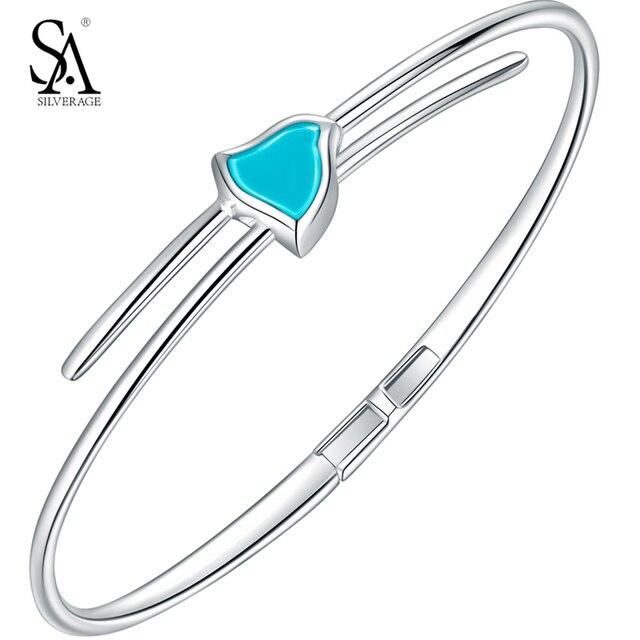 Sa silverage 925 стерлингового серебра браслет для женщины бренда прекрасные ювелирные изделия Синий Камень Роскошный Подарок для Партии 2017 Новый с коробка