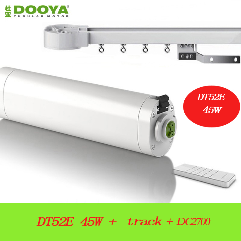 Dooya smart home Electric Curtain Motor DT52E 45W with remote +Silence Track Automatic Curtain Control System ewelink dooya electric curtain system curtain motor dt52e 45w remote control motorized aluminium curtain rail tracks 1m 6m