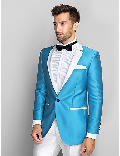 2018 Slim Fit Blue Blazer White Lapel Groom Tuxedos 2 Pieces Men\'s ...