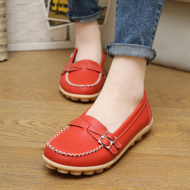 women flats shoes genuine leather ballet flats mother nurse shoes Slip-on round toe ballerina flats loafers for women 1188