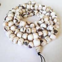 BRO867 Tibetan 108 old Conch shell Prayer Mala Necklace 12 15mm Tibet Buddhist Tridacna beads Free shipping