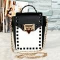 2016 популярные мода личности заклепки металлической пряжкой мини-цепи сумка женская сумка сумка щитка сумка единый телефон
