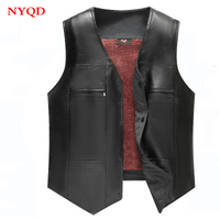 High quality 2018 new Winter men motorbike leather vest with fleece thickening middle aged V neck vest shoulders to keep warm