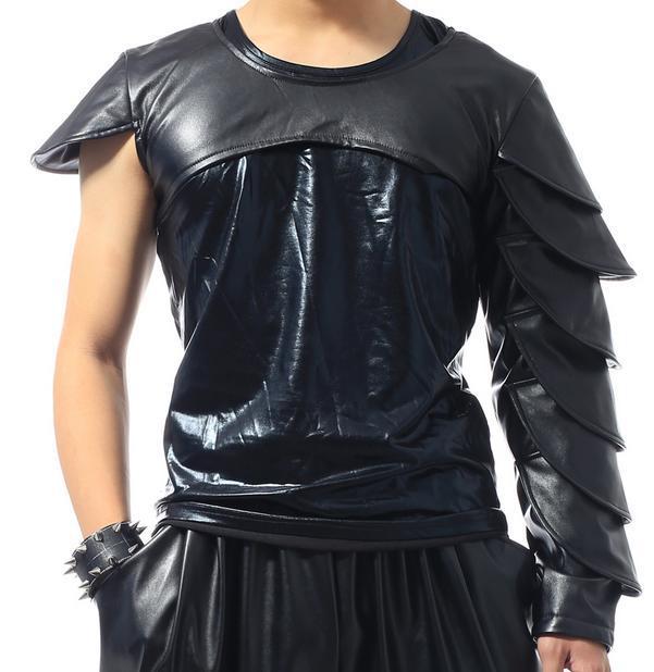 Черная сцена 1 рок мужские кожаные футболки Мода Футболка Мужская camisetas masculinas Мужская одежда 2XL настраиваемая - Цвет: 02