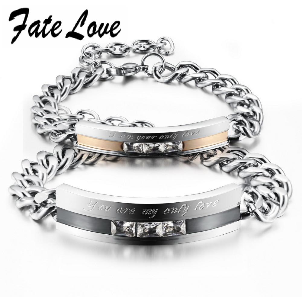 71c80dfffa96 Fate amor moda brazalete de acero inoxidable joyería de los pares Cadenas  zirconia amor pulseras al por mayor del motorista pulsera de la boda fl709