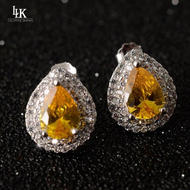 2016 Hot Water Drop 925 Sterling Silver Earrings For Women's Ladies Jewelry Yellow Pink Color Stud Earrings Tiffan TCO Earrings