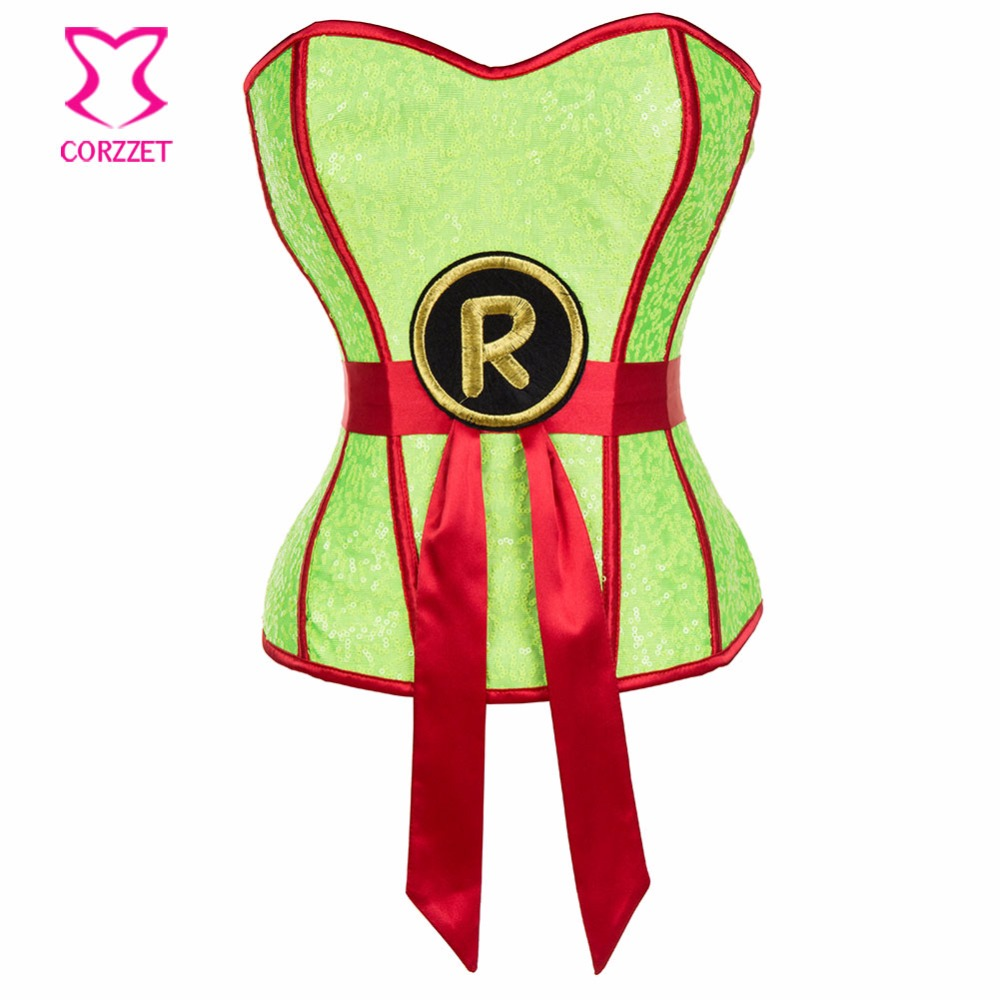 Neon Green Sequin Corselet   Corset   Sexy Women Robin Superhero Corsage   Bustier   Top Burlesque   Corsets   and   Bustiers   Gothic Clothing