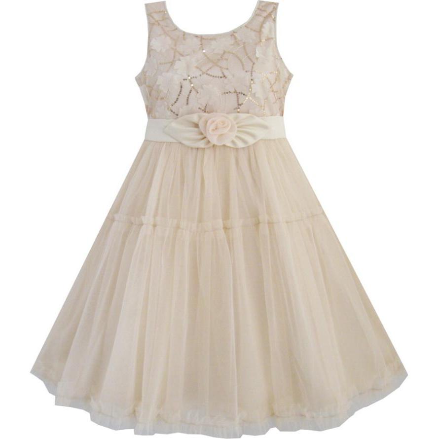 Květinové dívky šaty Shinning Sequins Béžové tylové vrstvy Svatební stránkyant Děti 2018 Letní princezna Party velikost 2-10