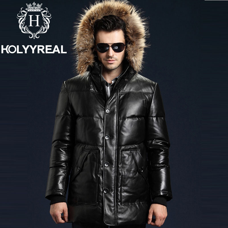 2015 New Genuine Sheepskin Leather Coat With Detachable Raccoon ...